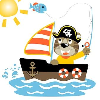 Pesca con barca a vela, illustrazione cartoon vettoriale