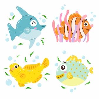 I pesci hanno impostato su bianco