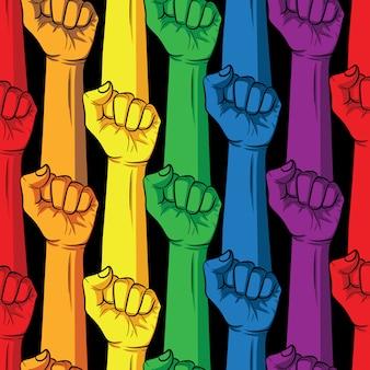 Pugno nei colori dell'arcobaleno su sfondo nero. cartellonistica comunitaria lgbt