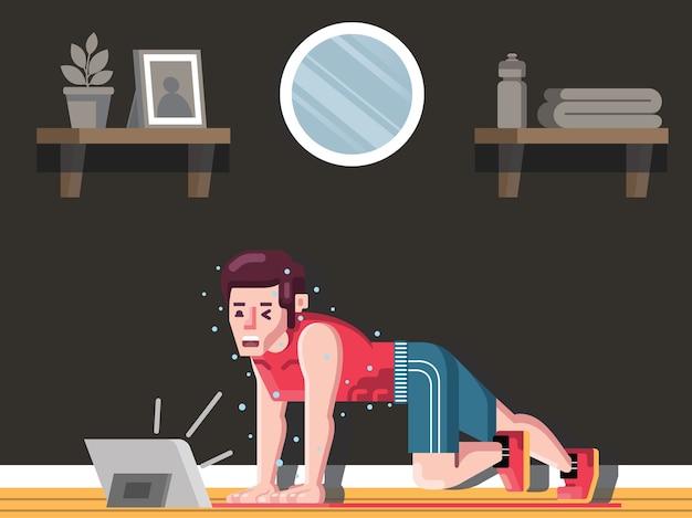 Uomo adatto che lavora a casa seguendo il vettore di illustrazione video didattico
