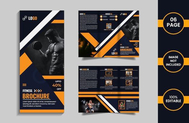 Modello di progettazione brochure a tre ante di 6 pagine fitness con forme geometriche di colore giallo e blu intenso.