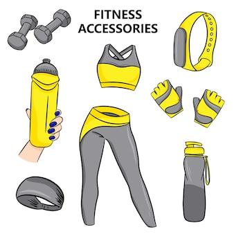 Accessori per il fitness in stile cartone animato. illustrazione vettoriale isolato su sfondo bianco.