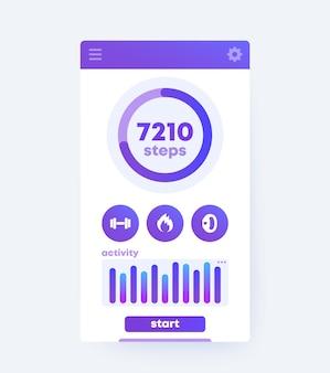 Interfaccia utente mobile dell'app fitness,
