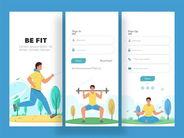 Schermate dell'interfaccia utente dell'app fitness o layout del modello come accedi
