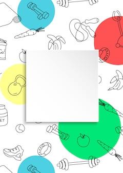 Sfondo fitness con palestra disegnata a mano e piatto di carta 3d. elementi doodle per un sano allenamento ed esercizio