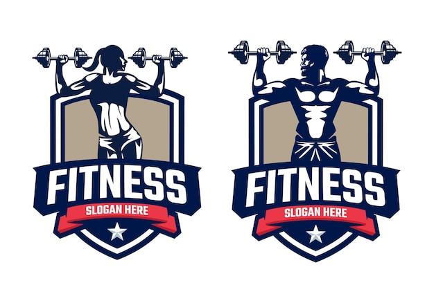 Modello di logo distintivo fitness