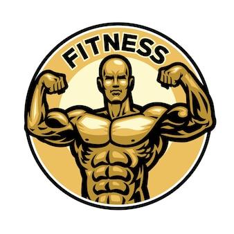 Distintivo di fitness con mascotte che flette il corpo muscolare