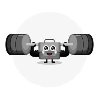 Logo del personaggio della mascotte del bilanciere della borsa fitness