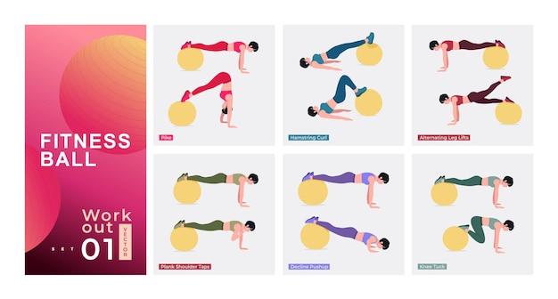 Set di allenamento per la palla fitness giovane donna che fa esercizi con la palla di stabilità