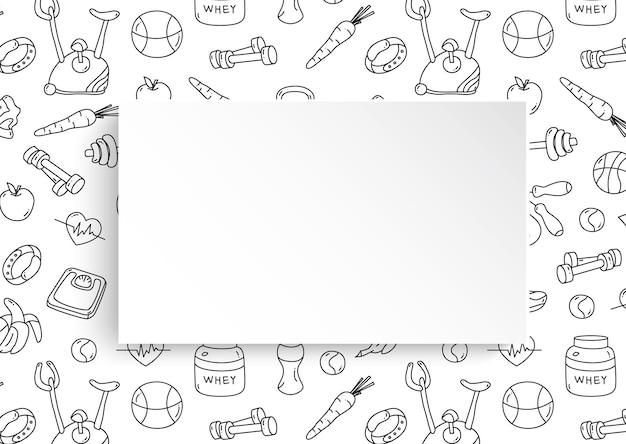 Banner di fitness con motivo palestra disegnato a mano e piatto di carta 3d.