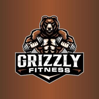 Modello di logo dell'orso fitness
