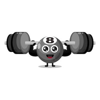 Palla da biliardo fitness simpatico personaggio mascotte