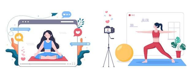 Blogger di fitness su yoga content creator registrazione in background di lezioni video online di design piatto sportivo