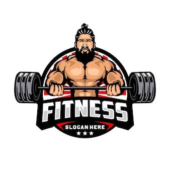 Modello di logo mascotte fitness e bodybuilding