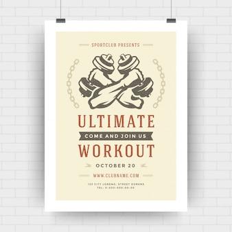 Disposizione tipografica moderna dell'aletta di filatoio del centro fitness, modello di copertura di evento