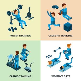 Centro fitness isometrico, atleta di persone che fanno potenza e cardio esercizio aerobico in palestra