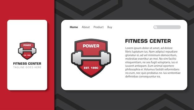 Centro fitness per app mobile e modello di pagina di destinazione