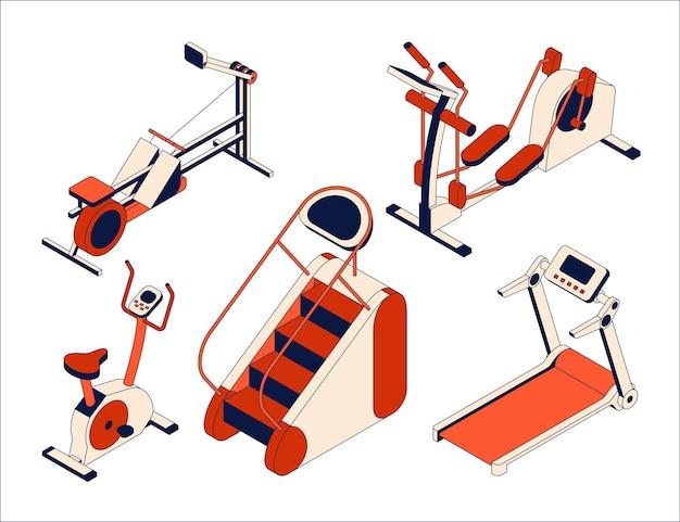 Collezione di attrezzature per fitness club. insieme isometrico di apparati di allenamento