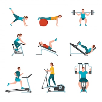 Illustrazione di esercizi di fitness club, istruttori di palestra moderna, maschio, personaggi femminili che si esercitano, persone che lavorano utilizzando attrezzature sportive e macchine, stile di vita sano