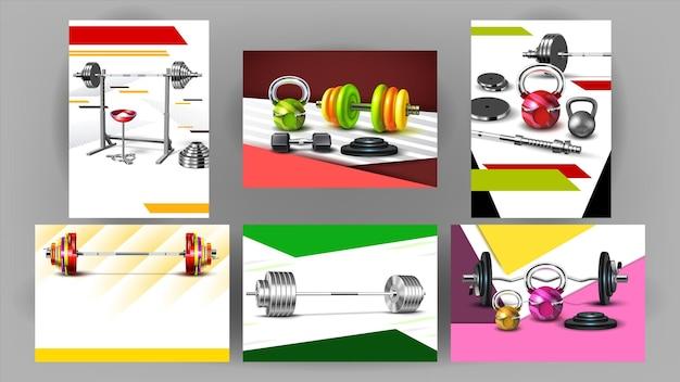 Fitness club sport pubblicizza banner set vettoriale. poster di raccolta con bilancieri, kettlebell e manubri. attrezzatura per muscoli forti. modello di strumenti di powerlifting da palestra illustrazioni 3d realistiche