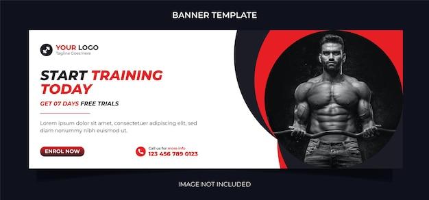 Progettazione di banner per social media di concetto di fitness e modello di post di instagram per l'esercizio fisico e l'allenamento in palestra