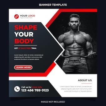 Banner di social media per il concetto di fitness e modello di post di instagram per l'esercizio e l'allenamento in palestra vettore