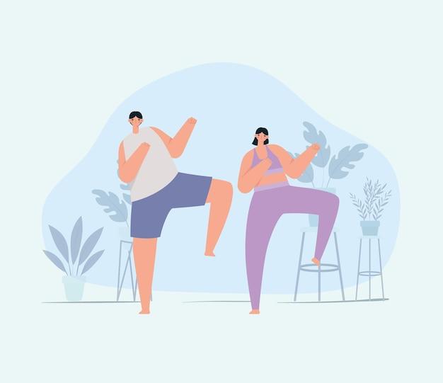 Illustrazione di coppia fitness