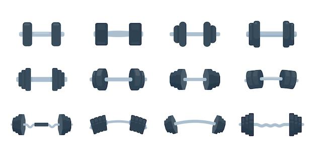 Manubri fitness in acciaio con pesi per esercizi di sollevamento per costruire muscoli.