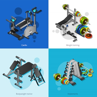 Set di immagini dell'attrezzatura di forma fisica