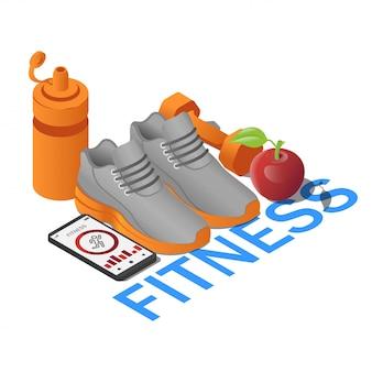 Sneaker per attrezzature fitness, smartphone con app, manubri, bottiglia d'acqua e mela in isometrica. fitness concetto con testo