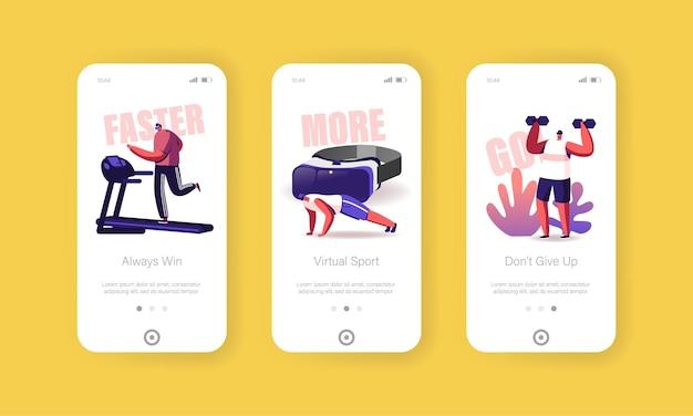 Modello di schermata della pagina dell'app mobile per l'esercizio di fitness