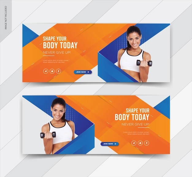 Banner di post sui social media per la copertina di facebook fitness