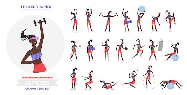 Pose di allenamento in palestra fitness trainer femminile facendo esercizi di ginnastica sportiva