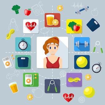 Illustrazione di concetto creativo piatto fitness, ragazza sportiva, icone piatte, cibo, dieta, bilancia, battito cardiaco, strumenti sportivi, per poster e striscioni