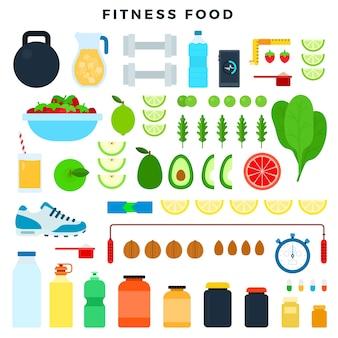 Cibo fitness e attrezzature sportive per mantenersi in forma