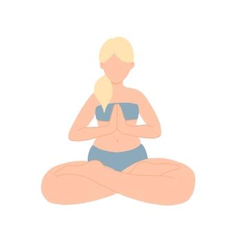Ragazza di forma fisica fa yoga, seduto nella posizione del loto, posa compiuta, asana per la meditazione, esercizi di respirazione
