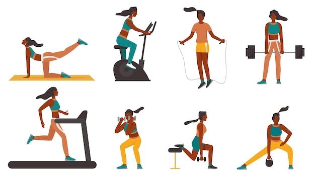 Ragazza di forma fisica alla formazione con set di illustrazione vettoriale di attrezzature sportive. carattere di donna sportiva del fumetto in abiti sportivi facendo esercizi sani, tapis roulant, bodybuilding isolato su bianco