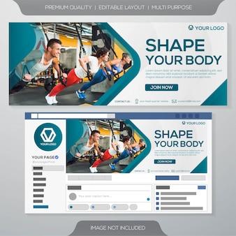 Modello di banner palestra fitness Vettore Premium