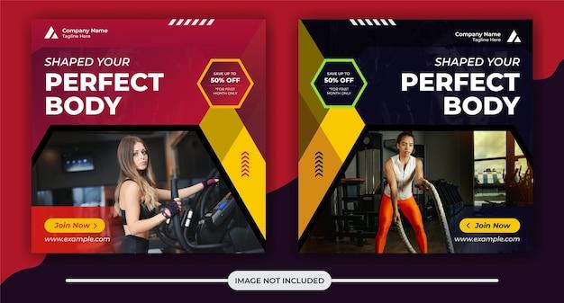 Modello di post e banner sui social media per il concetto di fitness e palestra