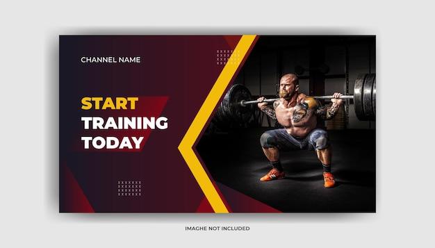Esercizio di fitness in palestra miniatura di youtube e modello di banner web vettore premium