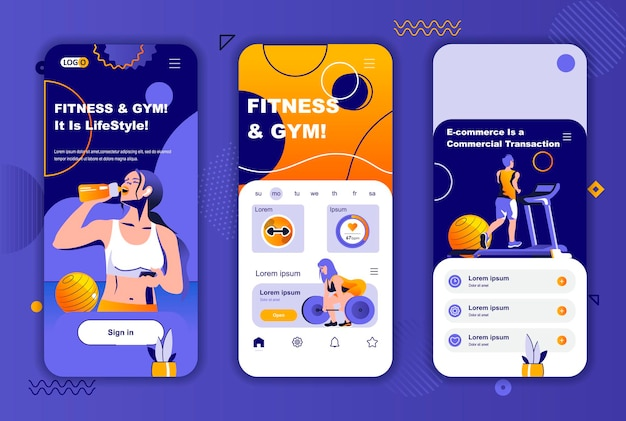 Modello di schermate per app mobili per palestra fitness per storie di social network
