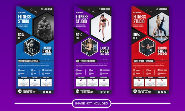 Collezione di modelli di banner roll up palestra fitness