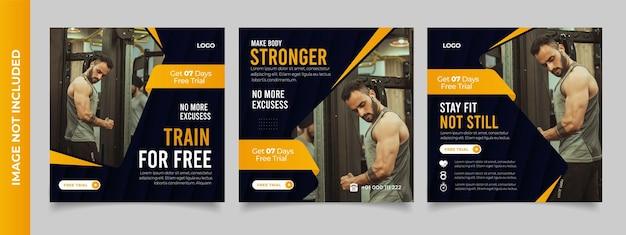 Modello di volantino quadrato post banner di social media palestra fitness