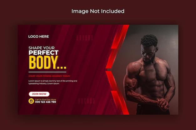 Volantino post social media palestra fitness copertina facebook e banner web vettore premium