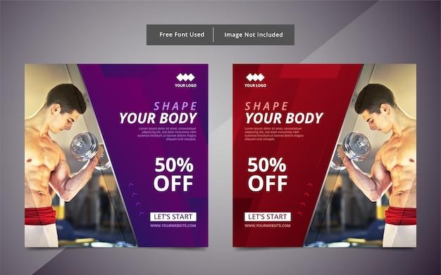 Palestra fitness social media post template design.