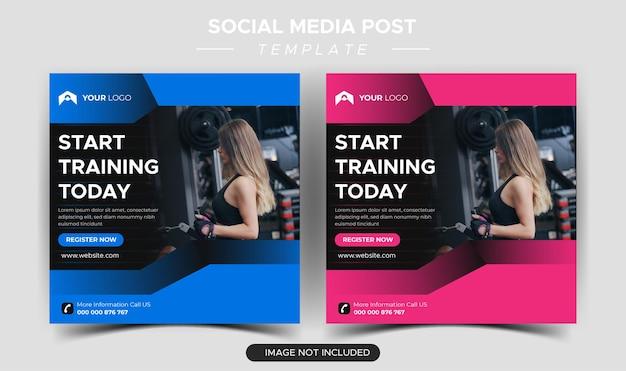 Post di social media per palestra fitness e design di banner web