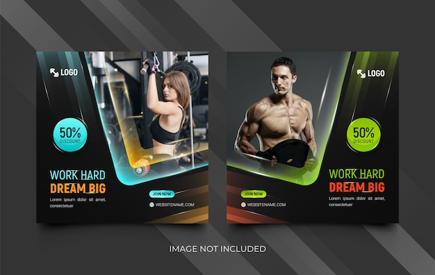 Set di modelli per social media palestra fitness fitness