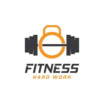 Modello icona logo di fitness palestra sport body building