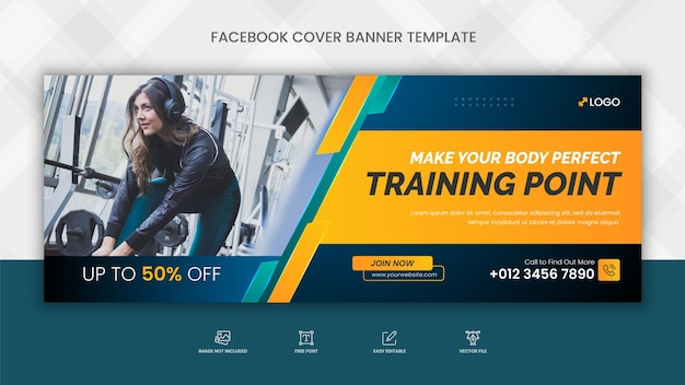 Copertina facebook di allenamento palestra fitness e modello di banner web di social media