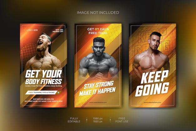 Raccolta di storie di instagram di allenamento in palestra per il fitness e modello di banner web vettore premium